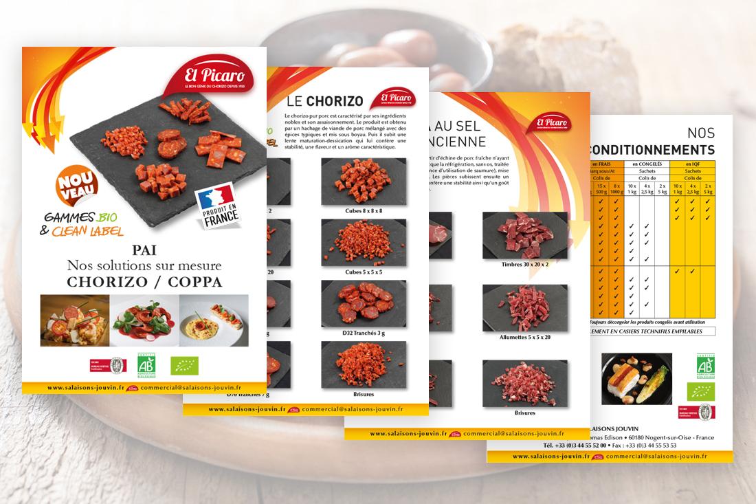 livret pdf en quatre pages des solutions sur mesure pour le chorizo et la coppa à Elpicaro